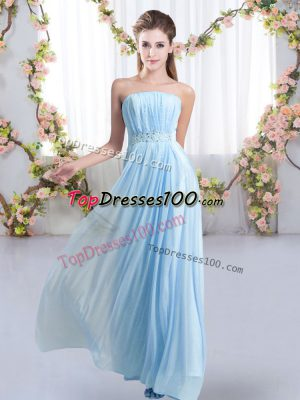 Sweep Train Empire Wedding Guest Dresses Baby Blue Strapless Chiffon Sleeveless Lace Up