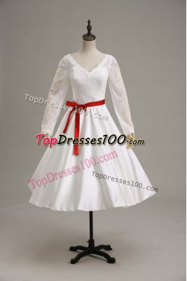 Ball Gowns Wedding Gowns White V-neck Satin Long Sleeves Tea Length Clasp Handle