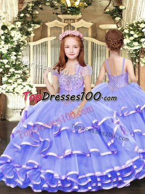 Floor Length Ball Gowns Sleeveless Lavender Pageant Dress Lace Up