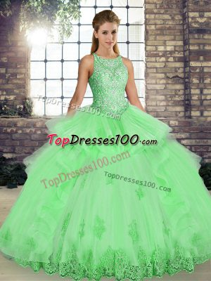 bd5f9b0e46 Floor Length Vestidos de Quinceanera Tulle Sleeveless Lace and Embroidery  and Ruffles