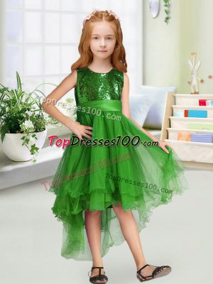A-line Toddler Flower Girl Dress Green Scoop Organza Sleeveless High Low Zipper