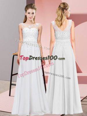 Luxury Chiffon Scoop Sleeveless Zipper Beading and Appliques Bridesmaid Dresses in White