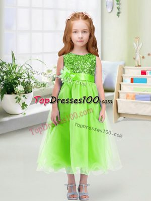 Fashion Sleeveless Sequins and Hand Made Flower Zipper Flower Girl Dress
