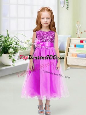 Elegant Lilac Zipper Scoop Sequins and Hand Made Flower Flower Girl Dresses Organza Sleeveless