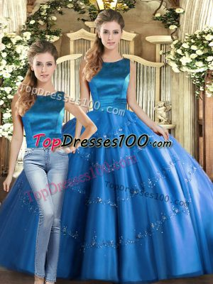 Unique Floor Length Lace Up Quinceanera Gowns Blue for Military Ball and Sweet 16 and Quinceanera with Appliques