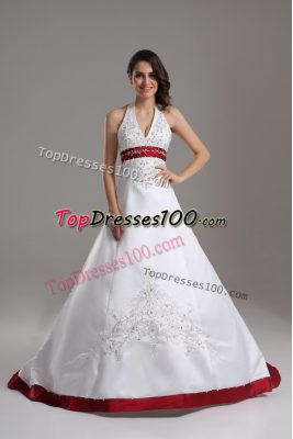 Admirable White Satin Lace Up Halter Top Sleeveless Wedding Dress Brush Train Beading and Embroidery