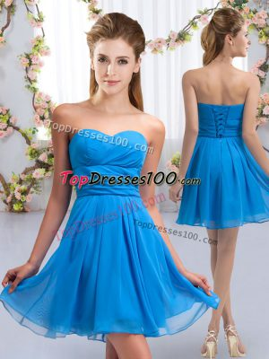 Pretty Sweetheart Sleeveless Lace Up Wedding Guest Dresses Baby Blue Chiffon