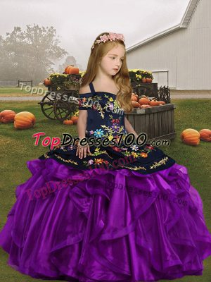 Beauteous Straps Sleeveless Organza Child Pageant Dress Embroidery Lace Up