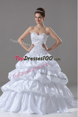 Sweetheart Sleeveless Taffeta Bridal Gown Embroidery and Pick Ups Brush Train Lace Up