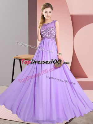 Lavender Empire Chiffon Scoop Sleeveless Beading and Appliques Floor Length Backless Bridesmaids Dress