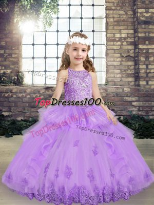 Attractive Floor Length Lace Up High School Pageant Dress Lavender for Party and Wedding Party with Lace and Appliques
