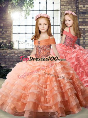Eye-catching Straps Long Sleeves Organza Kids Pageant Dress Beading and Ruffled Layers Brush Train Lace Up
