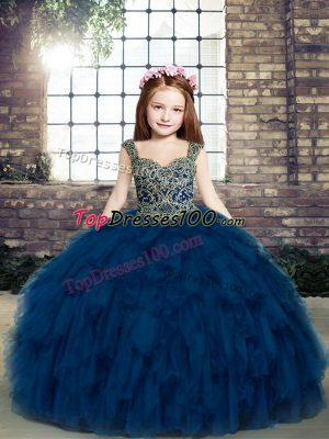 Great Navy Blue Sleeveless Beading and Ruffles Floor Length Pageant Dress