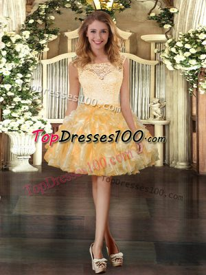 Flare Gold Ball Gowns Organza Scoop Sleeveless Lace and Ruffles Mini Length Zipper Homecoming Dress Online