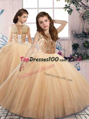 Customized Sleeveless Tulle Floor Length Lace Up Little Girls Pageant Dress Wholesale in Champagne with Beading