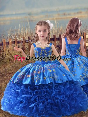 Embroidery Girls Pageant Dresses Blue Lace Up Sleeveless Sweep Train