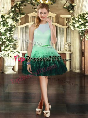 Customized Multi-color Sleeveless Ruffles Mini Length Evening Dress