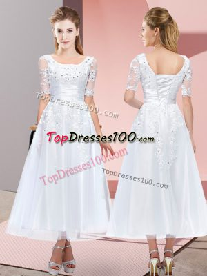Ideal White Short Sleeves Tulle Lace Up Bridesmaid Dresses for Wedding Party