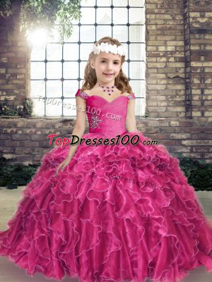 Organza Sleeveless Floor Length Child Pageant Dress and Beading and Ruffles
