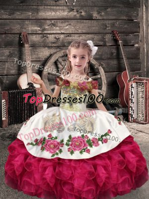 Best Coral Red Off The Shoulder Lace Up Beading and Embroidery and Ruffles Pageant Gowns For Girls Sleeveless