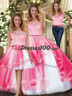 Elegant Floor Length Clasp Handle 15th Birthday Dress Hot Pink for Military Ball and Sweet 16 and Quinceanera with Lace and Ruffles