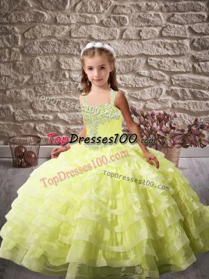 Perfect Yellow Green Pageant Dress for Teens Party and Sweet 16 and Wedding Party with Beading and Ruffled Layers Straps Sleeveless Brush Train Lace Up