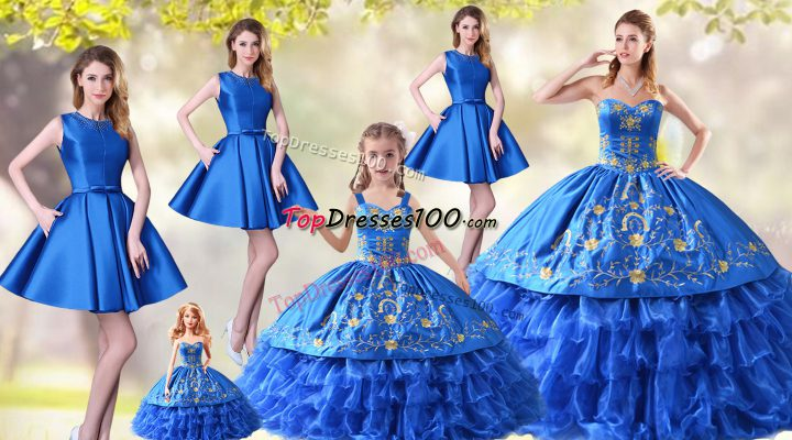Exquisite Blue Sweetheart Neckline Embroidery and Ruffled Layers Vestidos de Quinceanera Sleeveless Lace Up