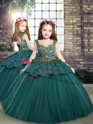 Custom Designed Sleeveless Tulle Floor Length Side Zipper Pageant Gowns For Girls in Teal with Beading and Appliques