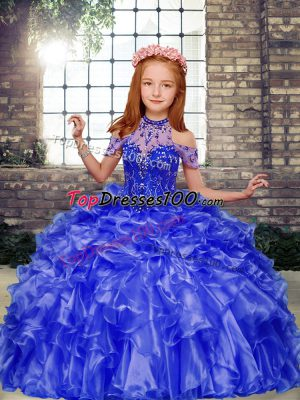 Fashion Blue Sleeveless Floor Length Beading and Ruffles Lace Up Kids Pageant Dress