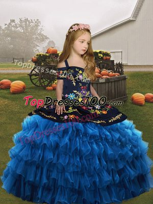 Straps Sleeveless Organza Kids Pageant Dress Embroidery and Ruffled Layers Lace Up