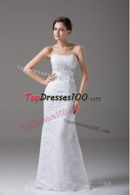Stunning White Wedding Gowns Tulle Brush Train Sleeveless Beading and Lace and Belt