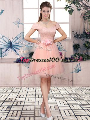 Short Sleeves Lace Up Mini Length Lace and Hand Made Flower Prom Dress