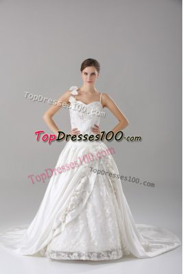 Cheap White Taffeta Lace Up Wedding Gown Sleeveless Brush Train Lace and Embroidery and Hand Made Flower