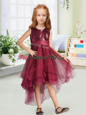 Glamorous Burgundy Flower Girl Dresses Wedding Party with Sequins and Bowknot Scoop Sleeveless Zipper