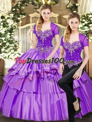 Sweetheart Sleeveless Ball Gown Prom Dress Floor Length Beading and Ruffled Layers Lavender Organza and Taffeta