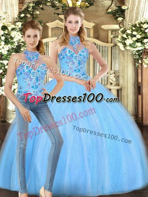 Cute Halter Top Sleeveless 15 Quinceanera Dress Floor Length Embroidery Baby Blue Tulle
