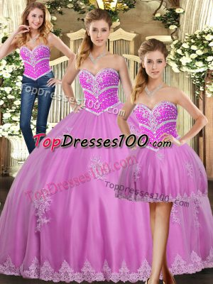 Delicate Lilac Sweetheart Lace Up Beading and Appliques Quinceanera Dresses Sleeveless