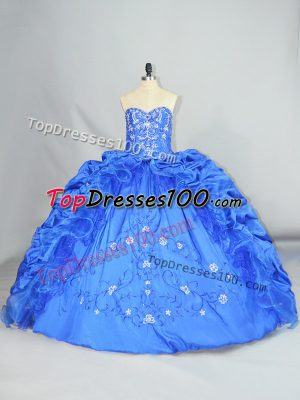 Deluxe Blue Sleeveless Taffeta Lace Up Vestidos de Quinceanera for Sweet 16 and Quinceanera