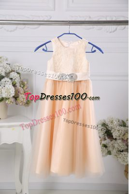 Sleeveless Floor Length Lace and Belt Zipper Flower Girl Dresses for Less with Peach