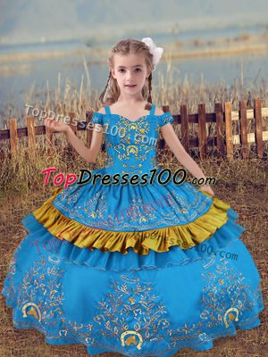 Ball Gowns Little Girls Pageant Dress Wholesale Baby Blue Off The Shoulder Satin Sleeveless Floor Length Lace Up