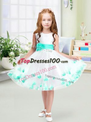 Scoop Sleeveless Flower Girl Dresses for Less Knee Length Appliques and Belt White Tulle