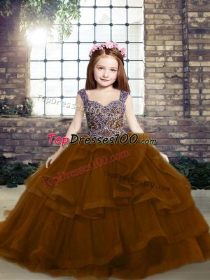 Dazzling Lace Up Evening Gowns Brown for Party and Wedding Party with Beading