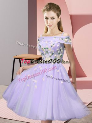 Modern Lavender Empire Appliques Bridesmaid Gown Lace Up Tulle Short Sleeves Knee Length