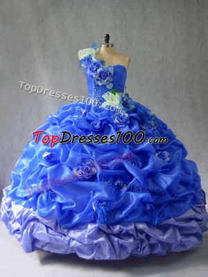 Fitting Blue Sleeveless Pick Ups and Hand Made Flower Floor Length Vestidos de Quinceanera