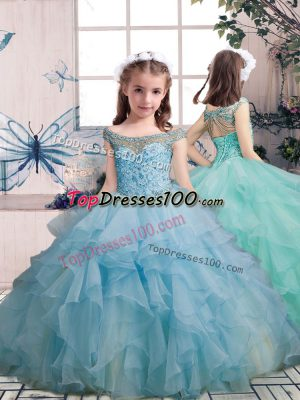Enchanting Floor Length Light Blue Girls Pageant Dresses Scoop Sleeveless Lace Up