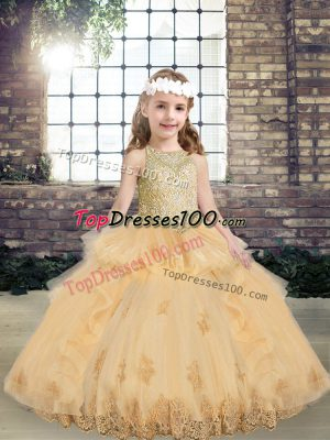 Sleeveless Lace Up Floor Length Appliques Little Girl Pageant Dress