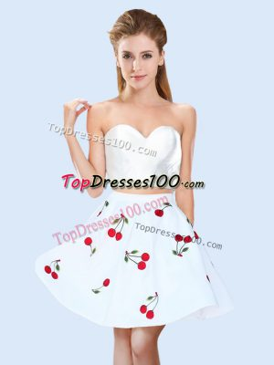 Cute Pattern Bridesmaid Gown White Lace Up Sleeveless Mini Length