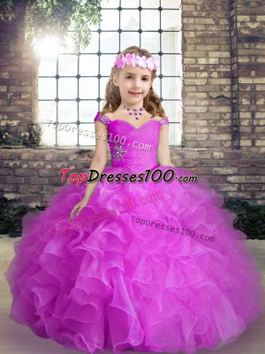 Straps Sleeveless Lace Up Pageant Dress Womens Fuchsia Organza