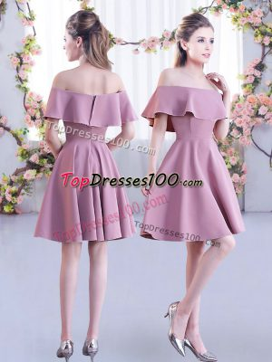 Pink Short Sleeves Chiffon Zipper Bridesmaids Dress for Wedding Party
