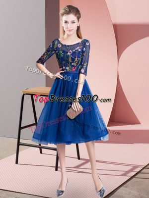 Elegant Royal Blue Lace Up Scoop Embroidery Wedding Guest Dresses Tulle Half Sleeves